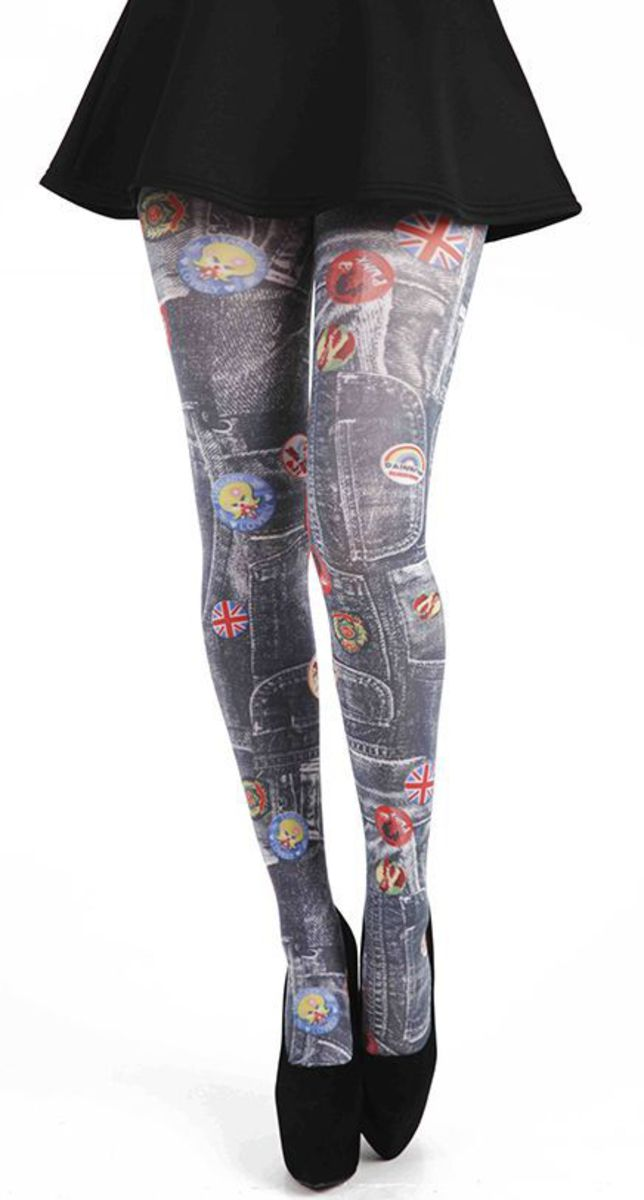 punčocháče PAMELA MANN - Denim Rockabilly Printed Tights - Multi - 095