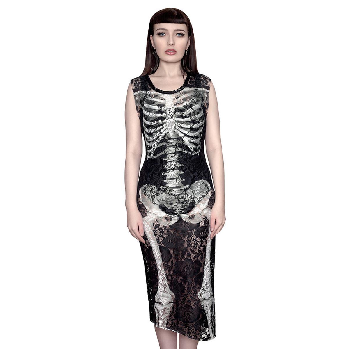 šaty dámské KILLSTAR - Skeletor Lace Maxi - Black S