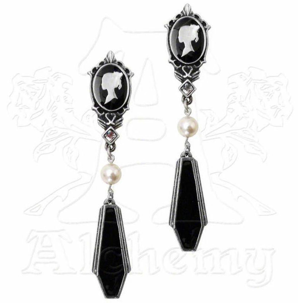 náušnice ALCHEMY GOTHIC - Coffin Drop Cameos - E300