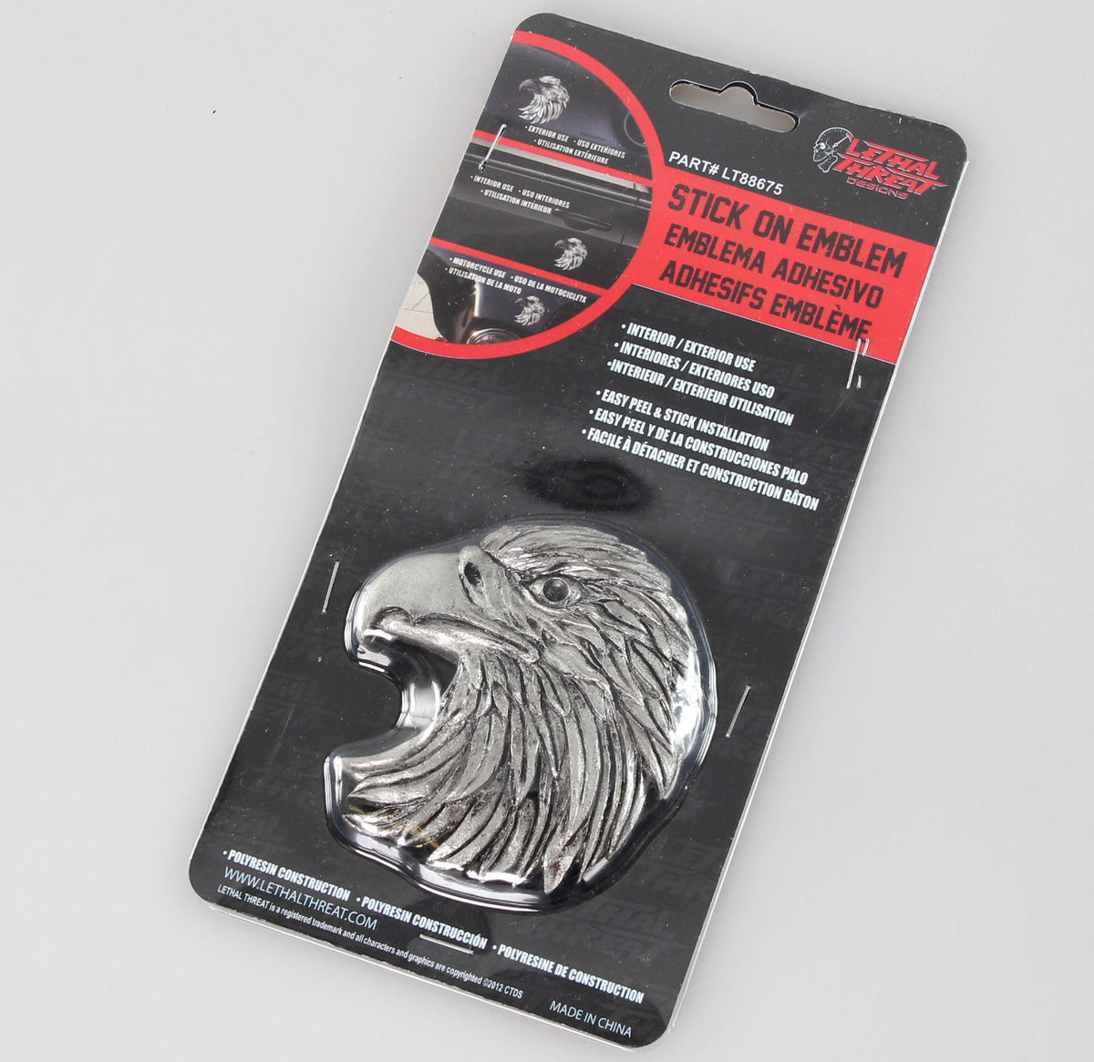 dekorace (na auto) LETHAL THREAT - Eagle Head Emblem (Eagle Beak Facing Left) - LT88675