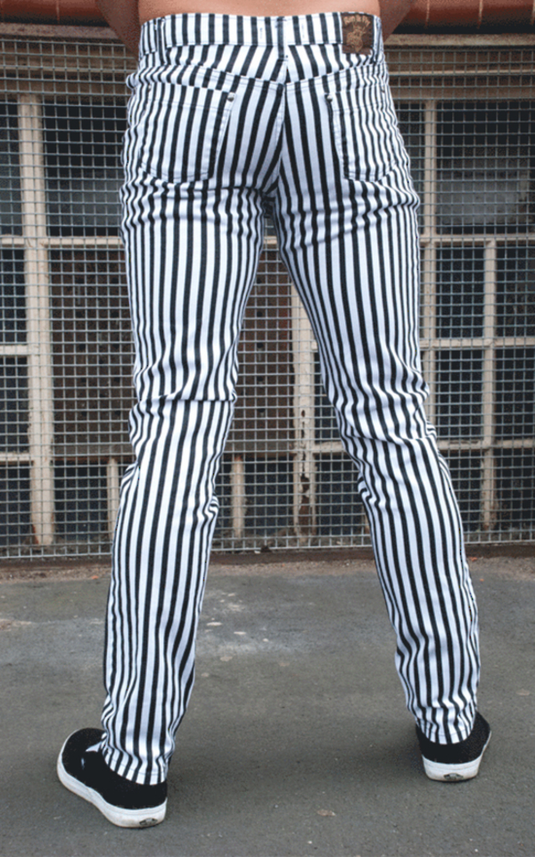 kalhoty pánské 3RDAND56th - Striped Skinny - BLK/WHT - JM1176