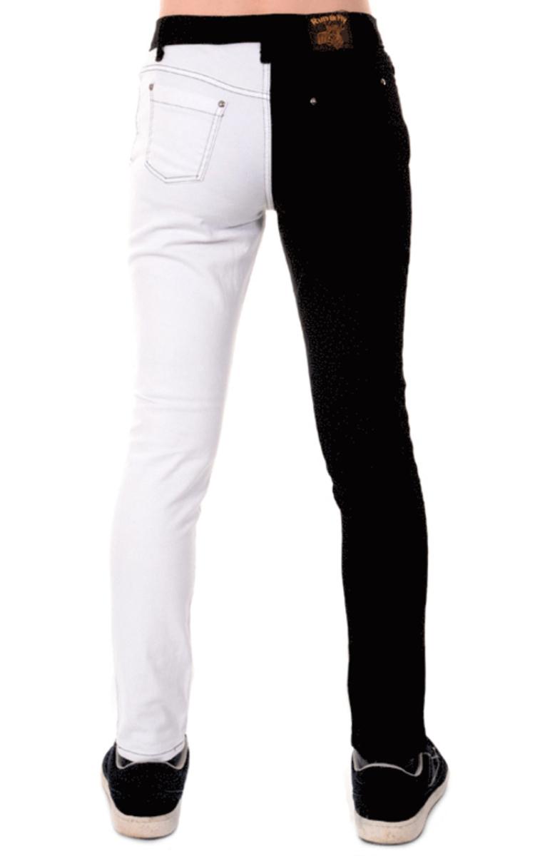 kalhoty pánské 3RDAND56th - Split Leg Skinny - Blk/Wht - JM1249