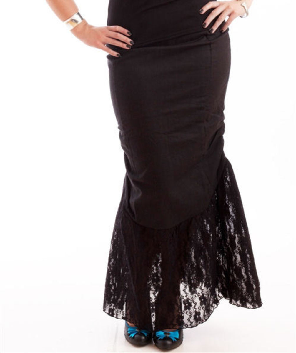 sukně dámská NECESSARY EVIL - Nepthys Lace and Twill Fishtail - Black - N1175 L