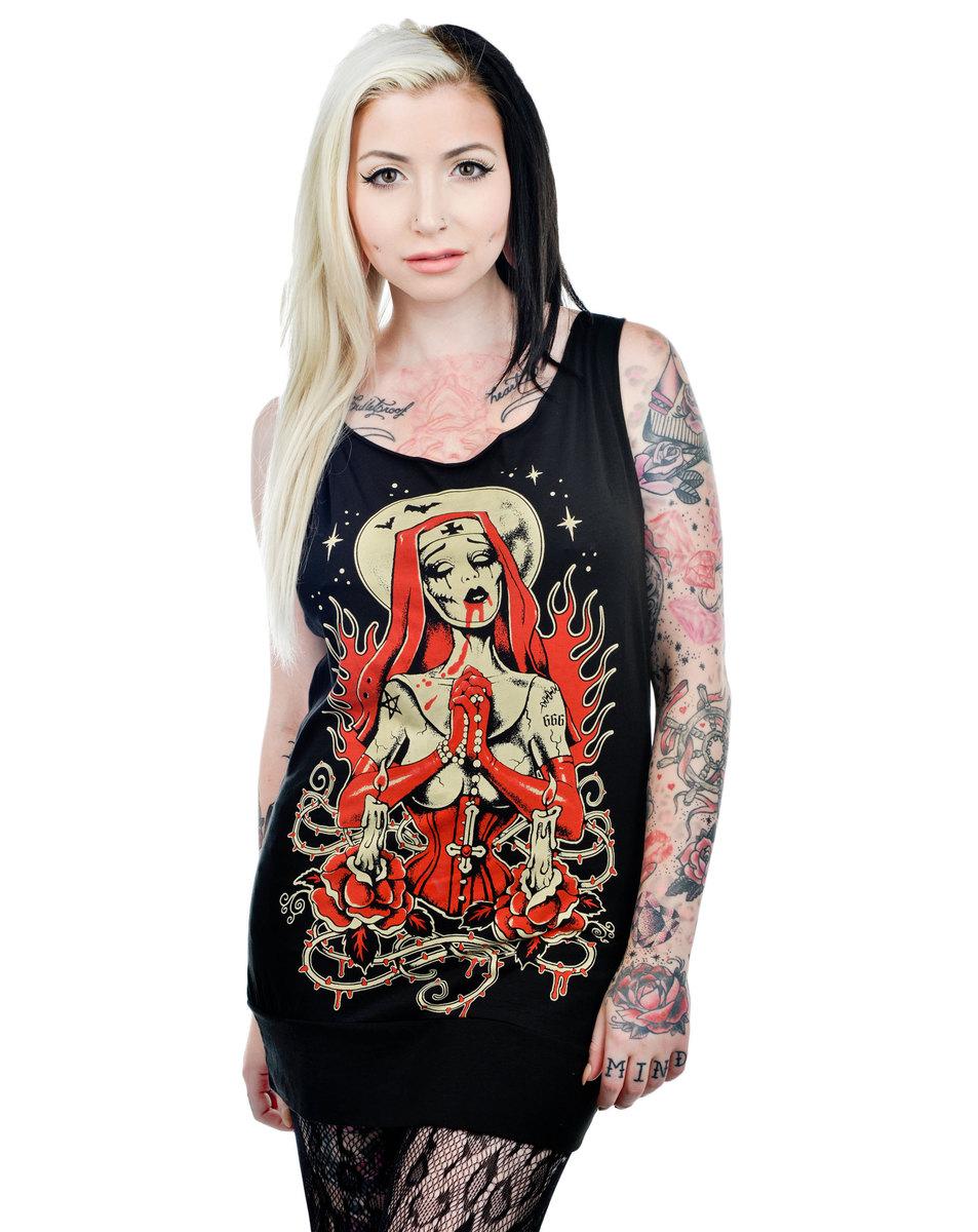 tílko dámské (top) TOO FAST - Faith Tunic - Zombie Nun - BLK