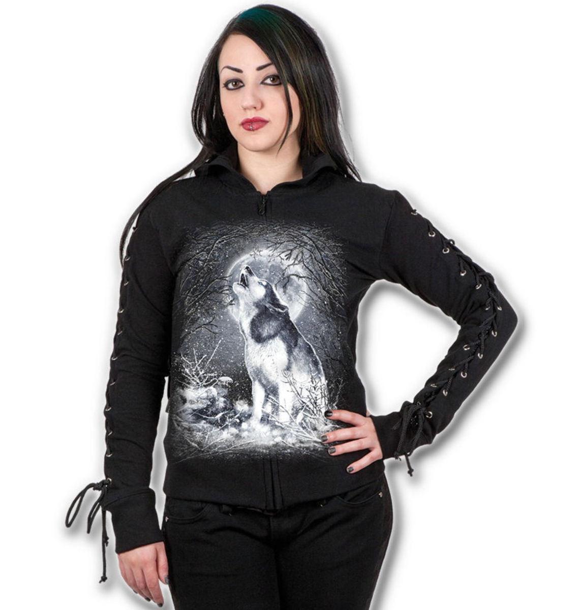 mikina dámská SPIRAL - White Wolf - Black - T053F265