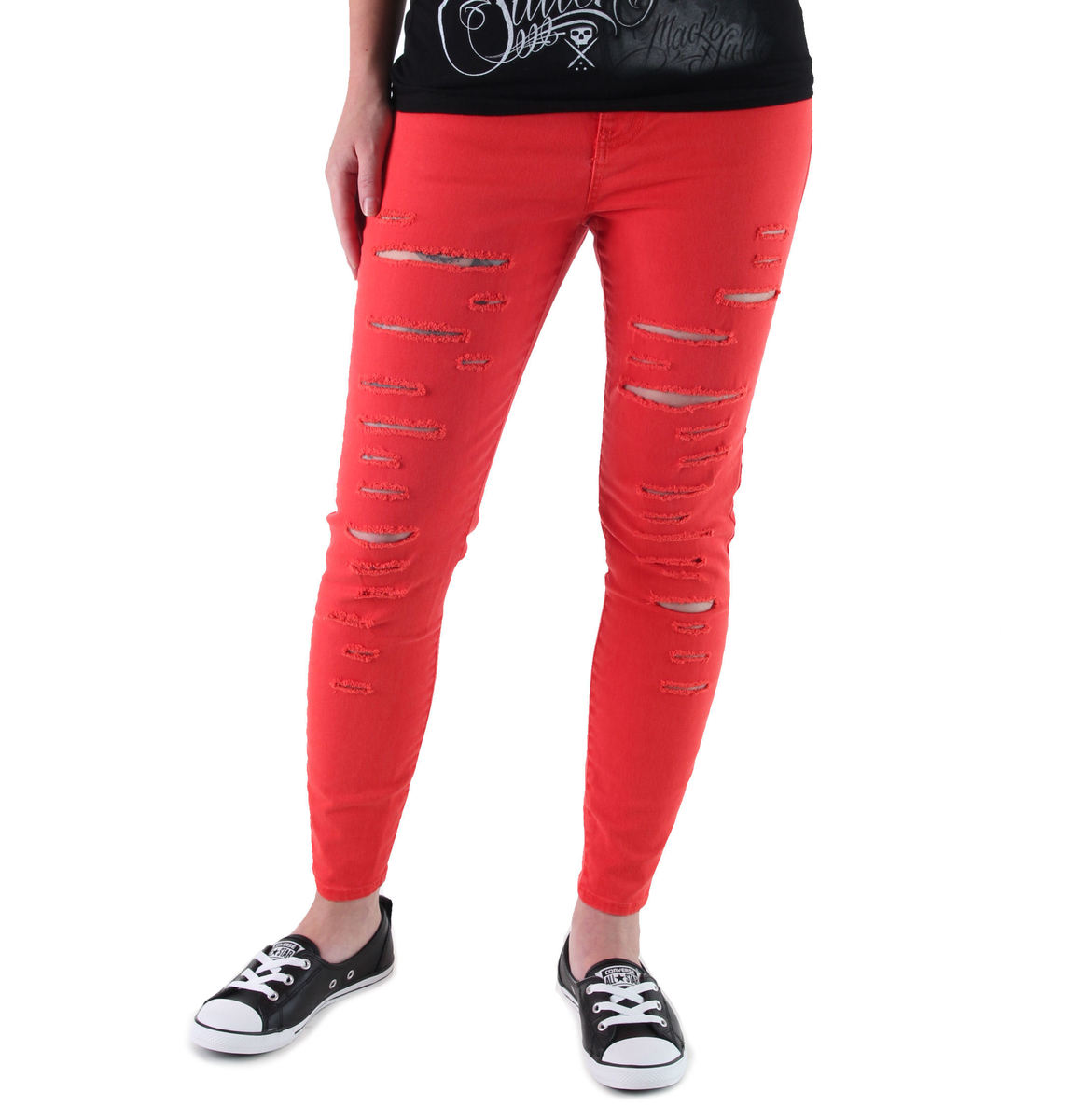 kalhoty dámské VANS - High Rise Back Zip Flame - Scarlet - V2ZWH8Q
