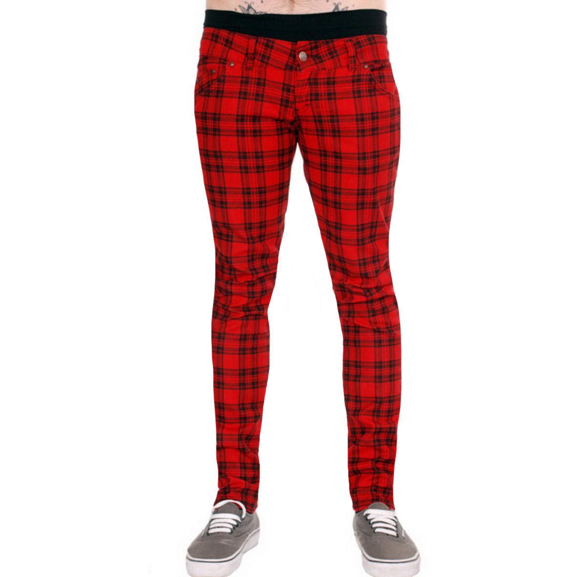 kalhoty pánské 3RDAND56th - Checked - Black/Red - JM1455