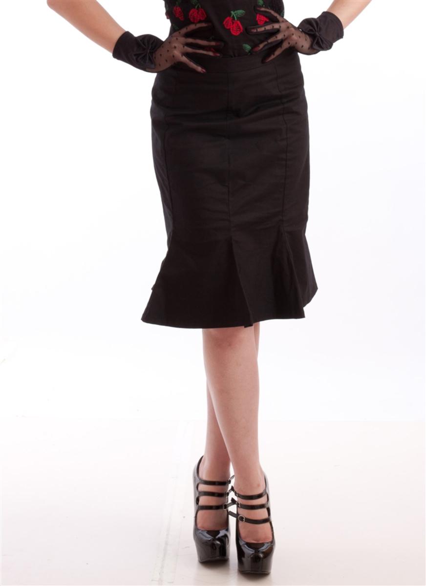 sukně dámská NECESSARY EVIL - Damara Retro Tulip - Black - N1185 S