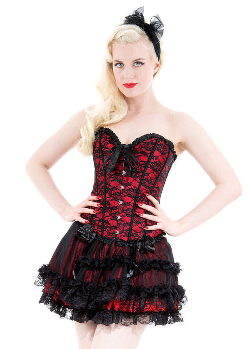korzet dámský HEARTS AND ROSES - Red With Black Net - 815r S