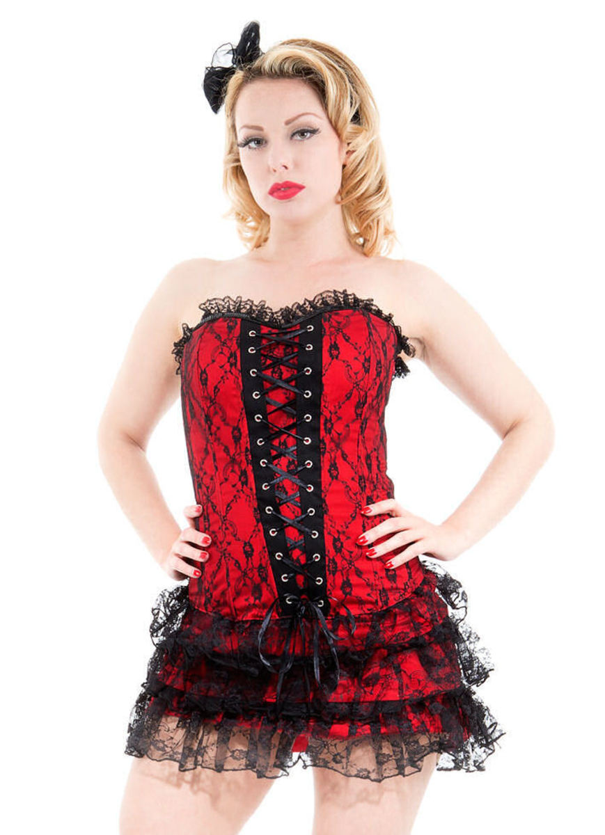 šaty dámské HEARTS AND ROSES - Red Moulin Rouge - 0227rcd 10/38
