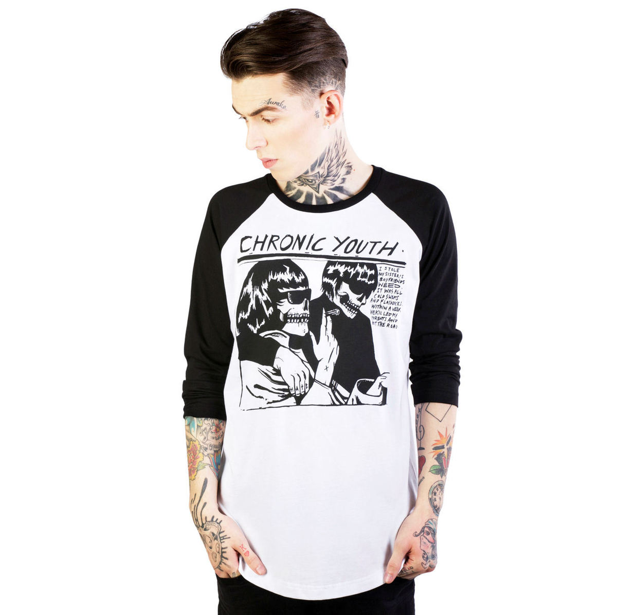 tričko pánské DISTURBIA - Chronic Youth - White/Black - DIS703