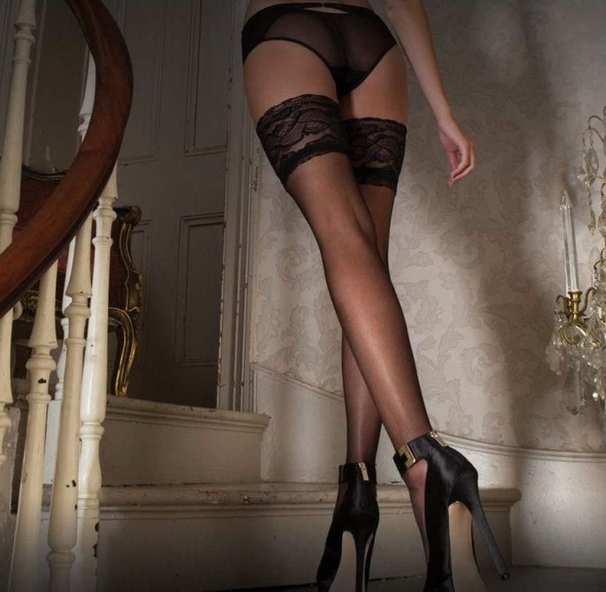 punčocháče LEGWEAR - Vixen - Audrey Lace Top Hold Up - OHVAUHU2BL1 M