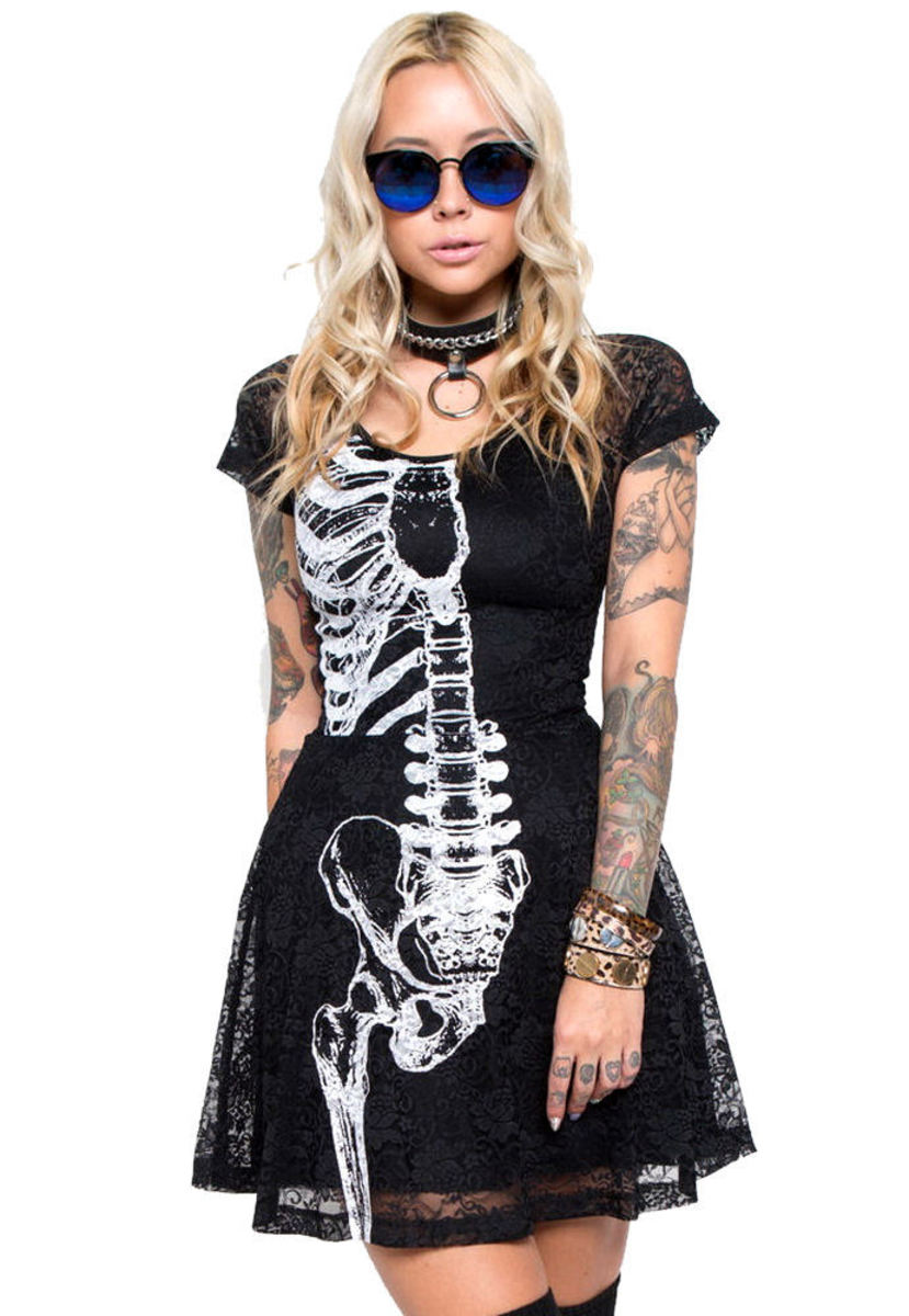 šaty dámské IRON FIST - Wishbone Lace - Black - IF003675 XL