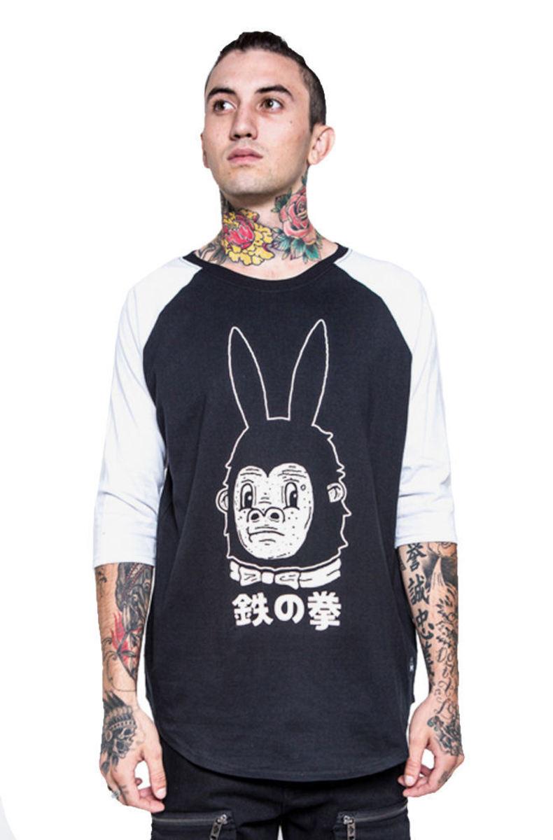 tričko pánské s 3/4 rukávem IRON FIST - Gogo-Rilla - Black/White - IFM003722