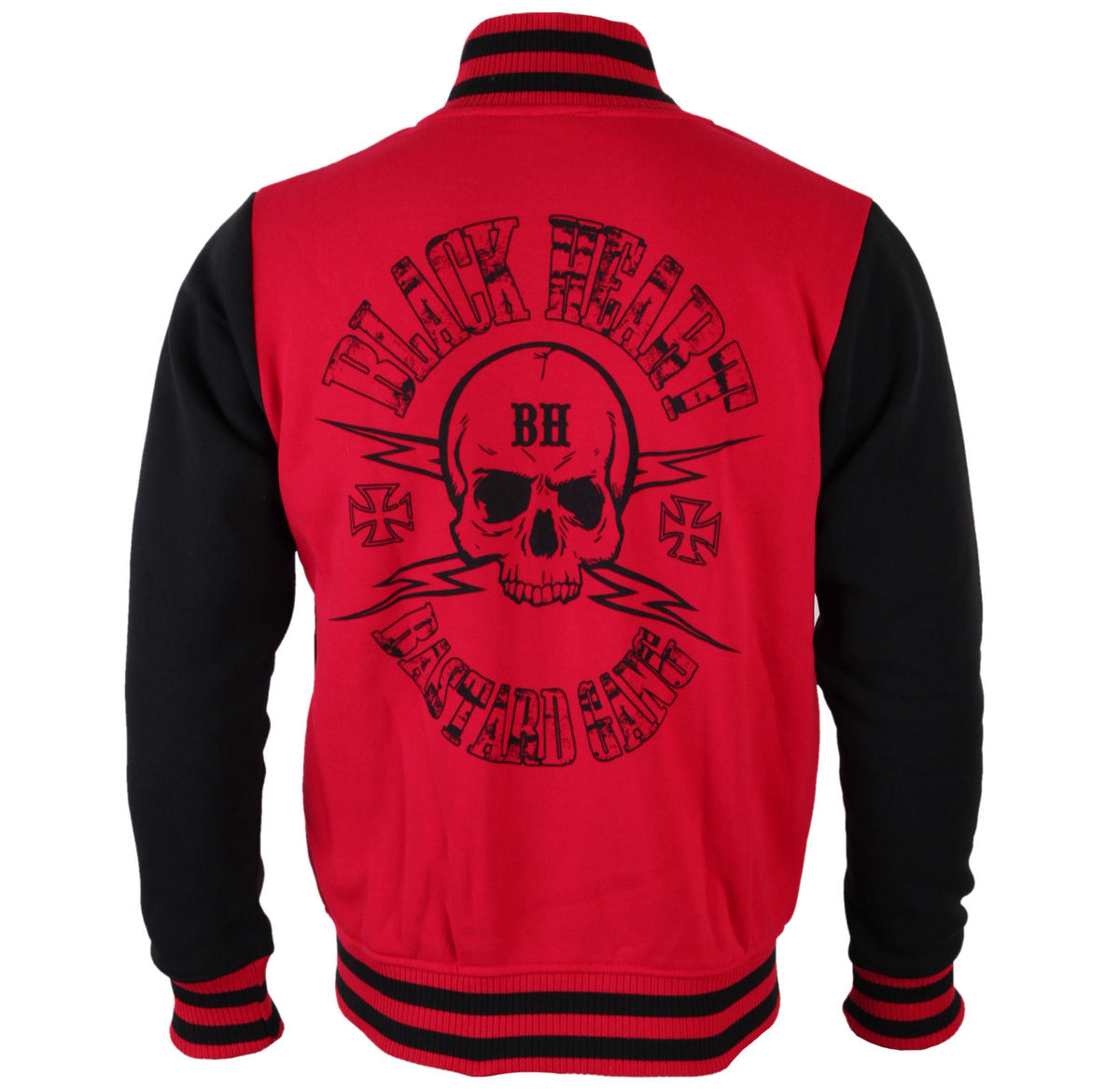 mikina pánská BLACK HEART (Baseball) - Skull Red - Red - BH104