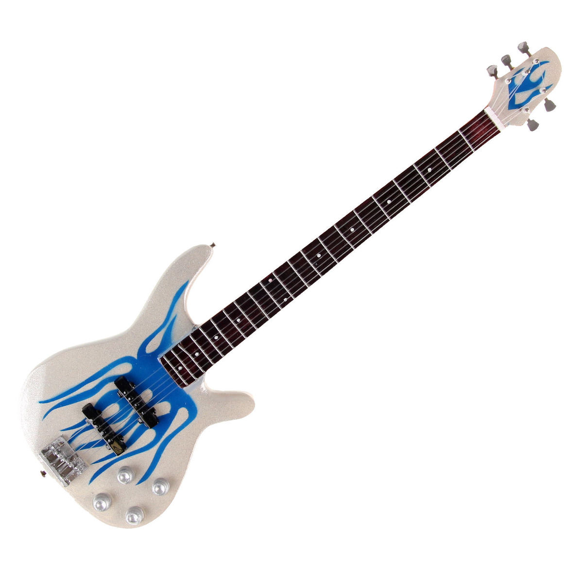 kytara Metallica - Robert Trujillo - Blue Flame Bass - White/Blue - MGT-2516