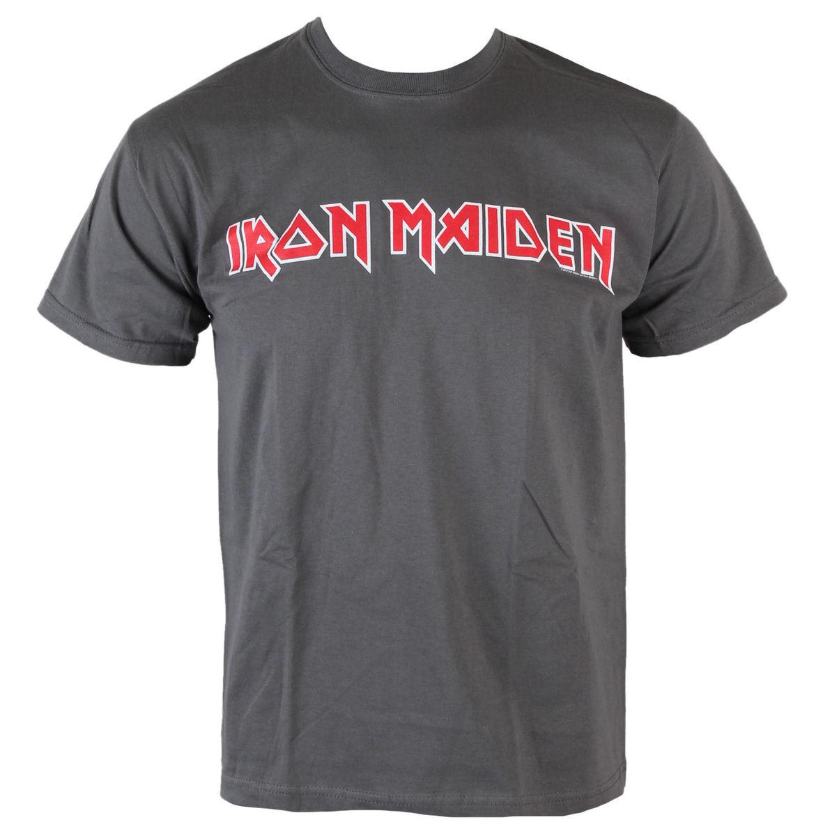 tričko pánské Iron Maiden - Classic Logo - Charcoal - ROCK OFF - IMTEE49MC