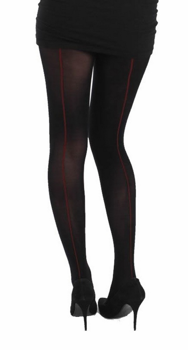 punčocháče PAMELA MANN - Denier Opague Seamed Tights - BlackRed - PM234