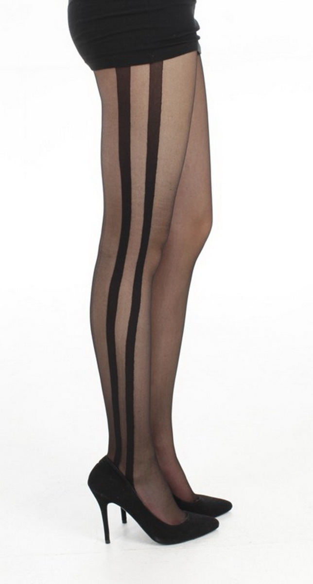 punčocháče PAMELA MANN - Side Stripe Sheer - Black - PM236 SM