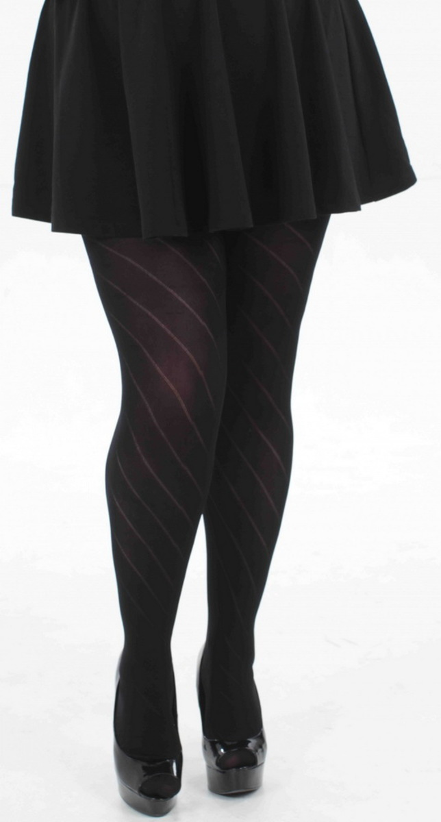 punčocháče PAMELA MANN - Diagonal Opaque - Black - PM240 S/M