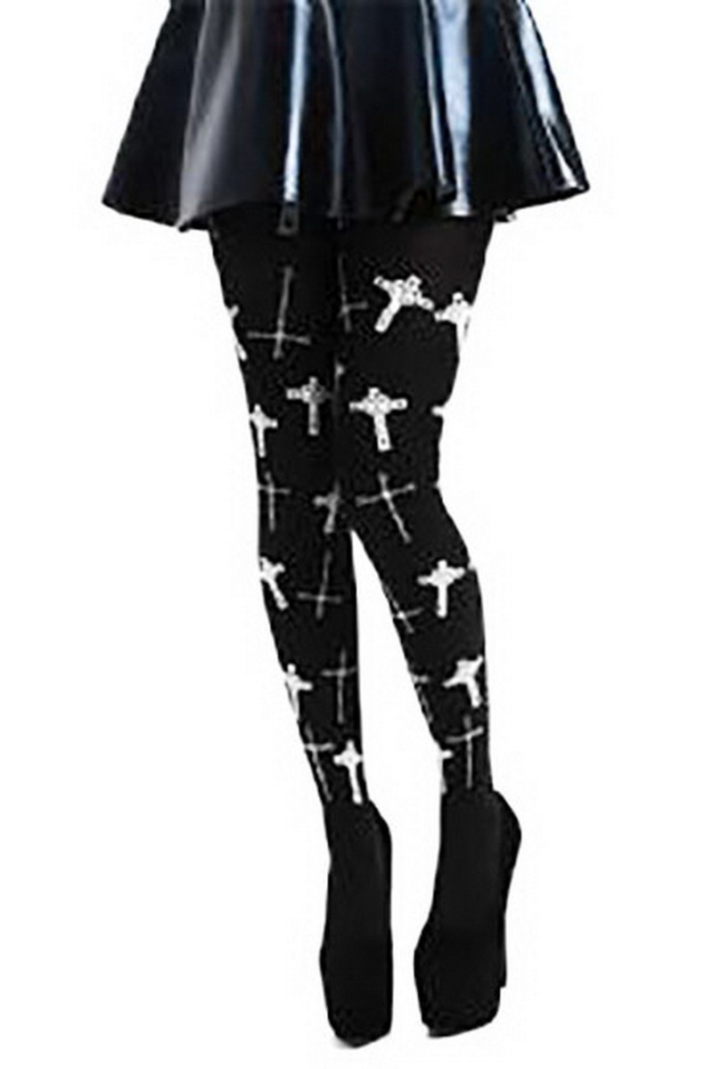 punčocháče PAMELA MANN - Flocked Goth Crosses - Black - PM256