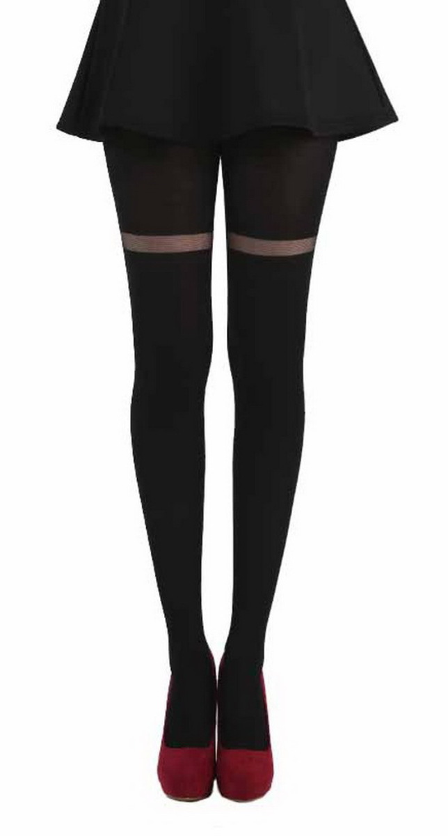 punčocháče PAMELA MANN - Opaque Tights With Sheer Stripe - Black - PM252