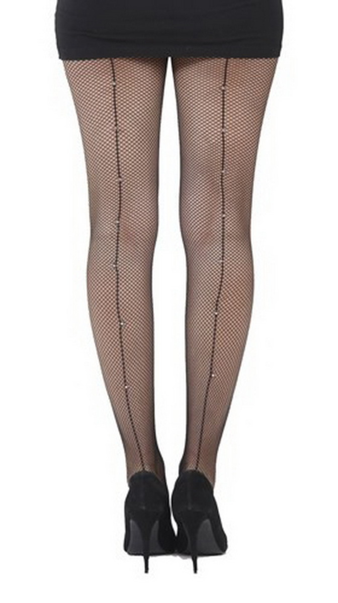 punčocháče PAMELA MANN - Fishnet Seamed Tights Black With Diamante Seam - Black - PM204