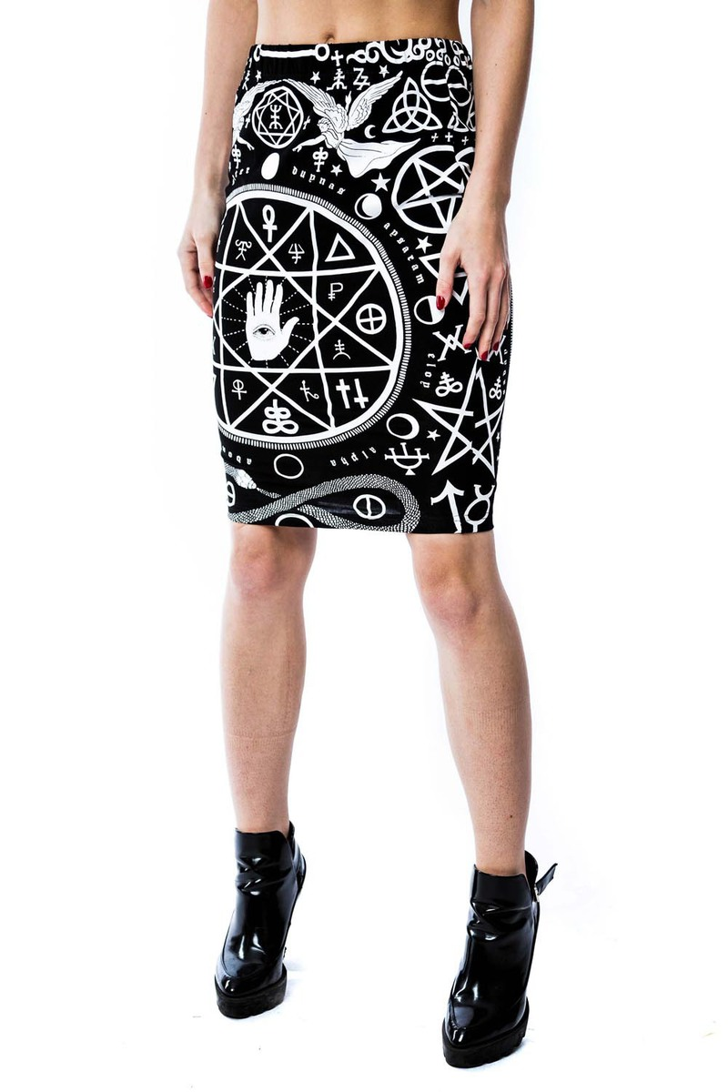 sukně dámská KILLSTAR - Cult Pencil - Black - KIL087 XL
