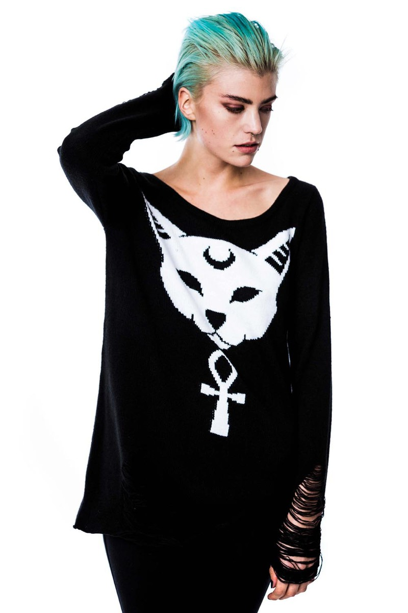 svetr (unisex) KILLSTAR - Purrfect - Black - KIL228