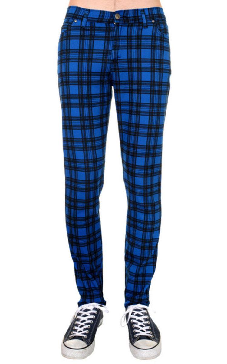 kalhoty pánské 3RDAND56th - Checked - Black/Royal - JM1455
