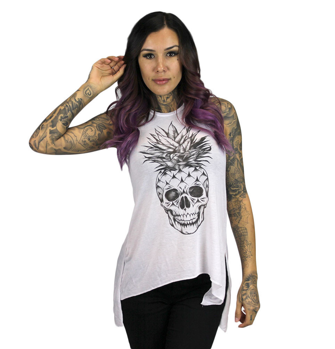 tílko dámské SULLEN - Pineapple Skull - White - SUL001