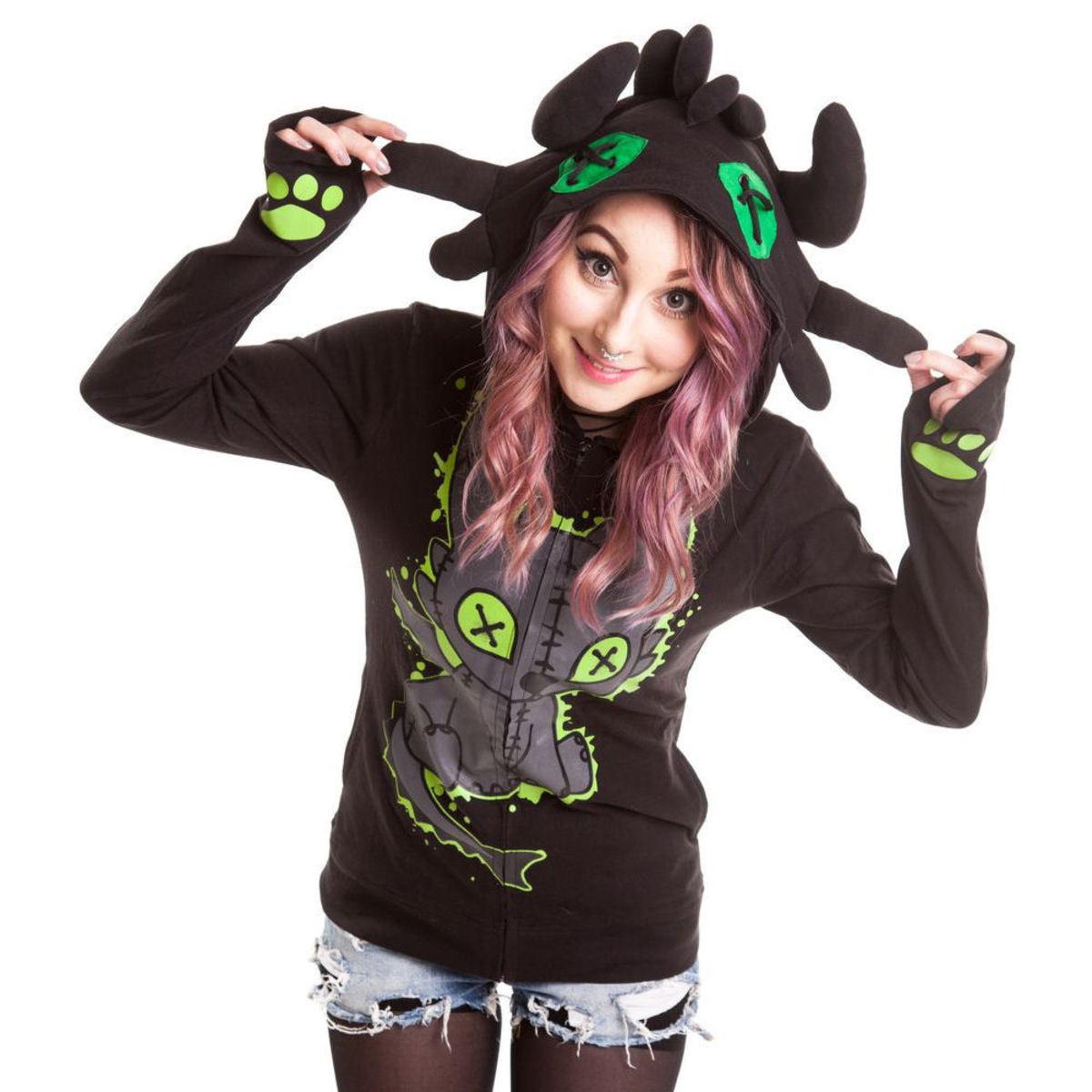 mikina dámská POIZEN INDUSTRIES - Voodoo Dragon - Black - POI037