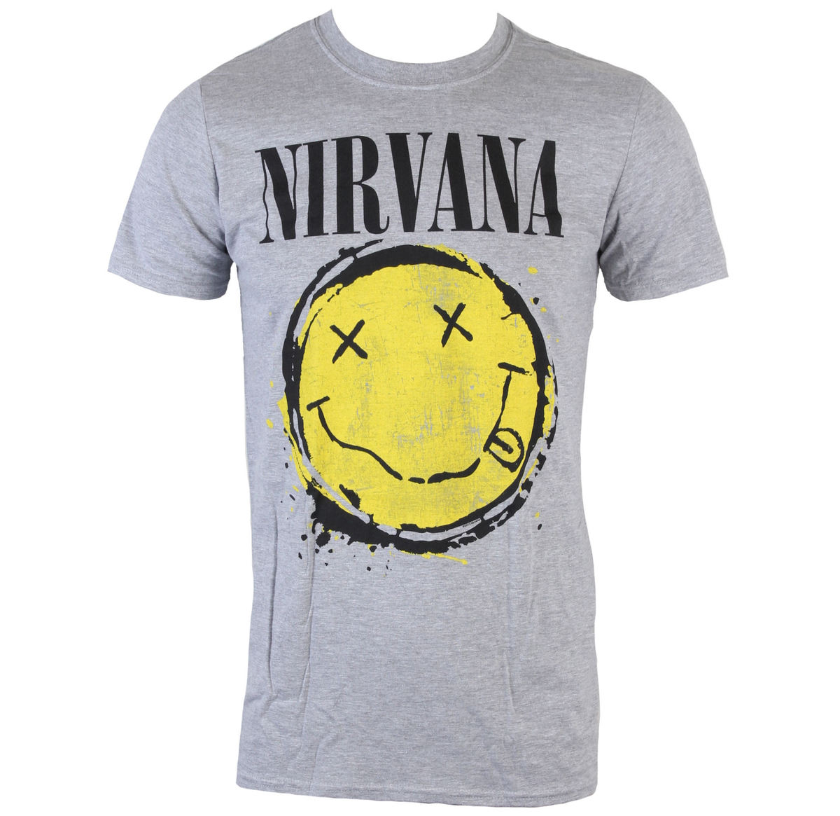 tričko pánské Nirvana - Smiley Splat - Heather Grey - LIVE NATION - PENIR0680