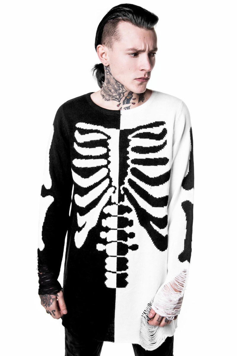 svetr (unisex) KILLSTAR - Skeletor - Black/White - KIL238