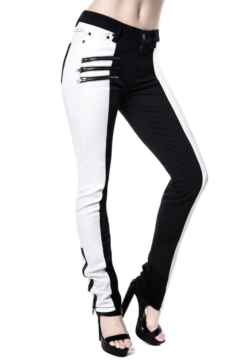 kalhoty dámské KILLSTAR - Duality Speed Denim - Black/White - KIL242