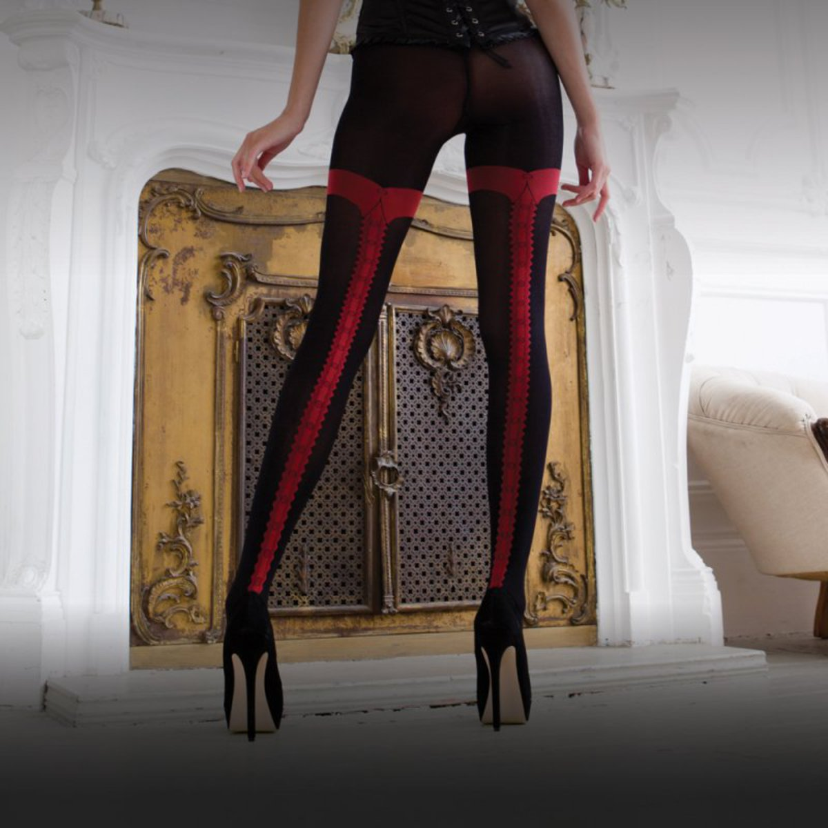 punčocháče LEGWEAR - charley opaque - black with red seam - OHVCTG2BL1 L