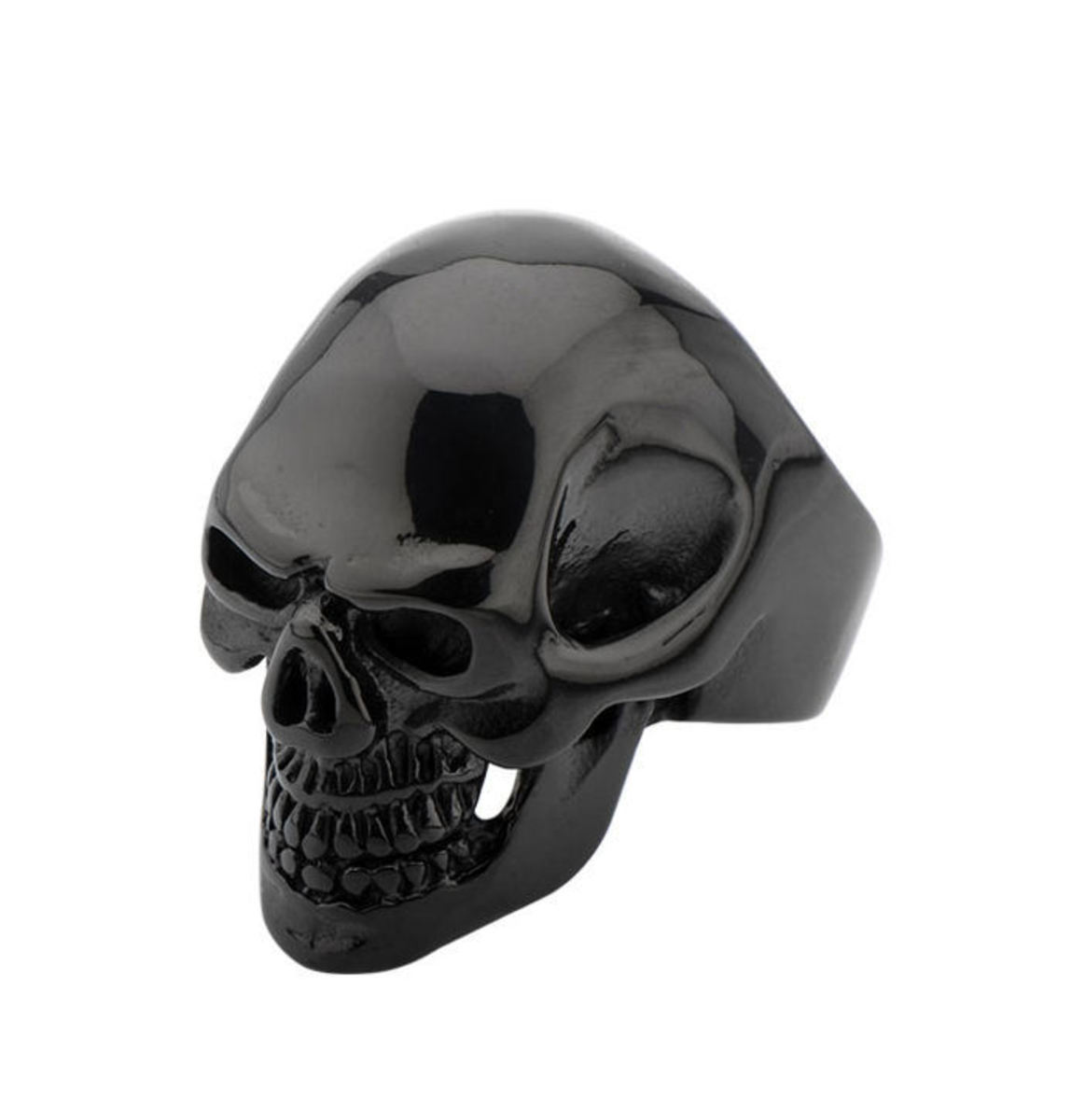 prsten INOX - BLK IP SKULL ALL TEETH - FR100K 12