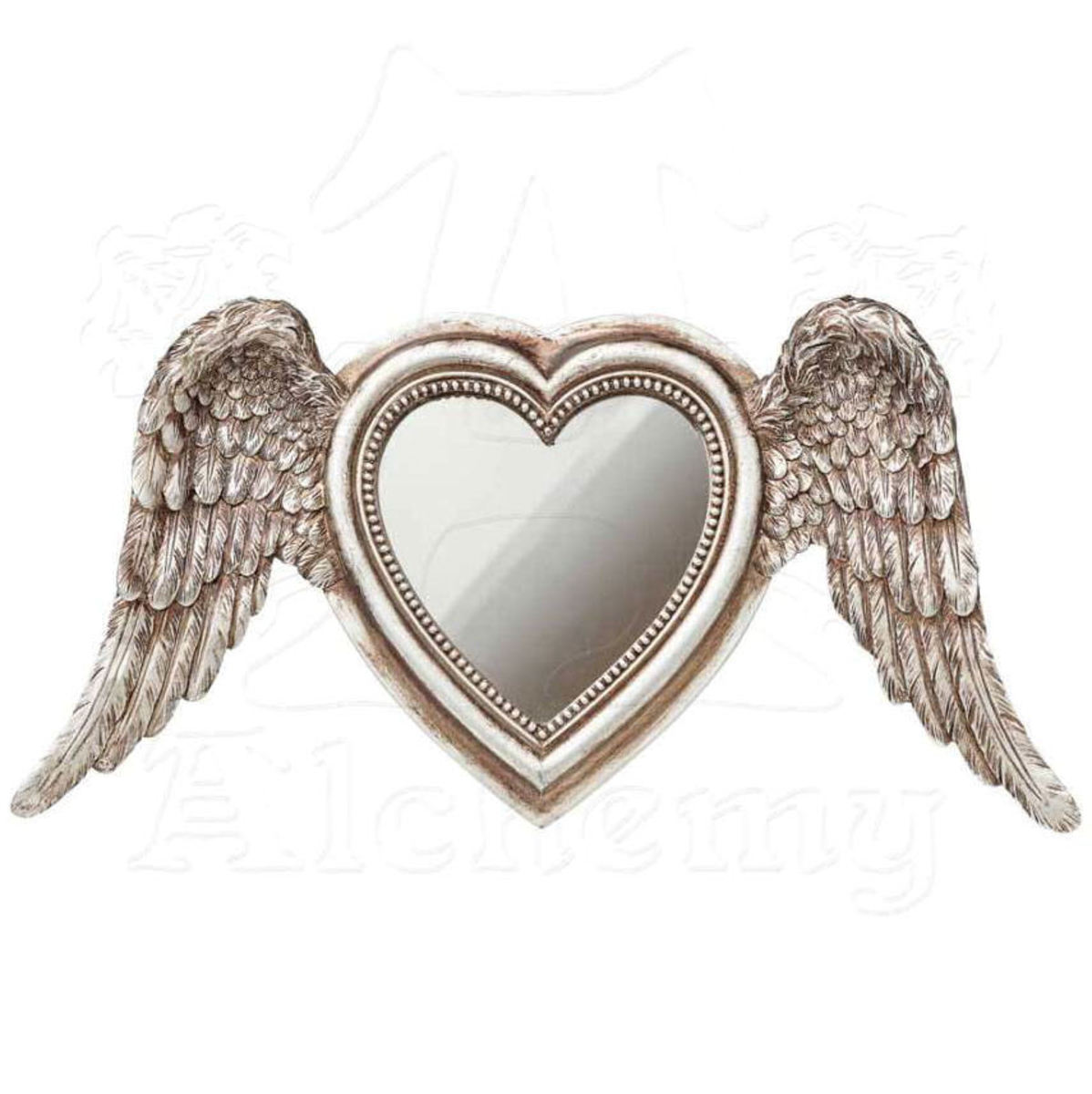 dekorace (zrcadlo) ALCHEMY GOTHIC - Winged Heart (Wings Down) - SA6