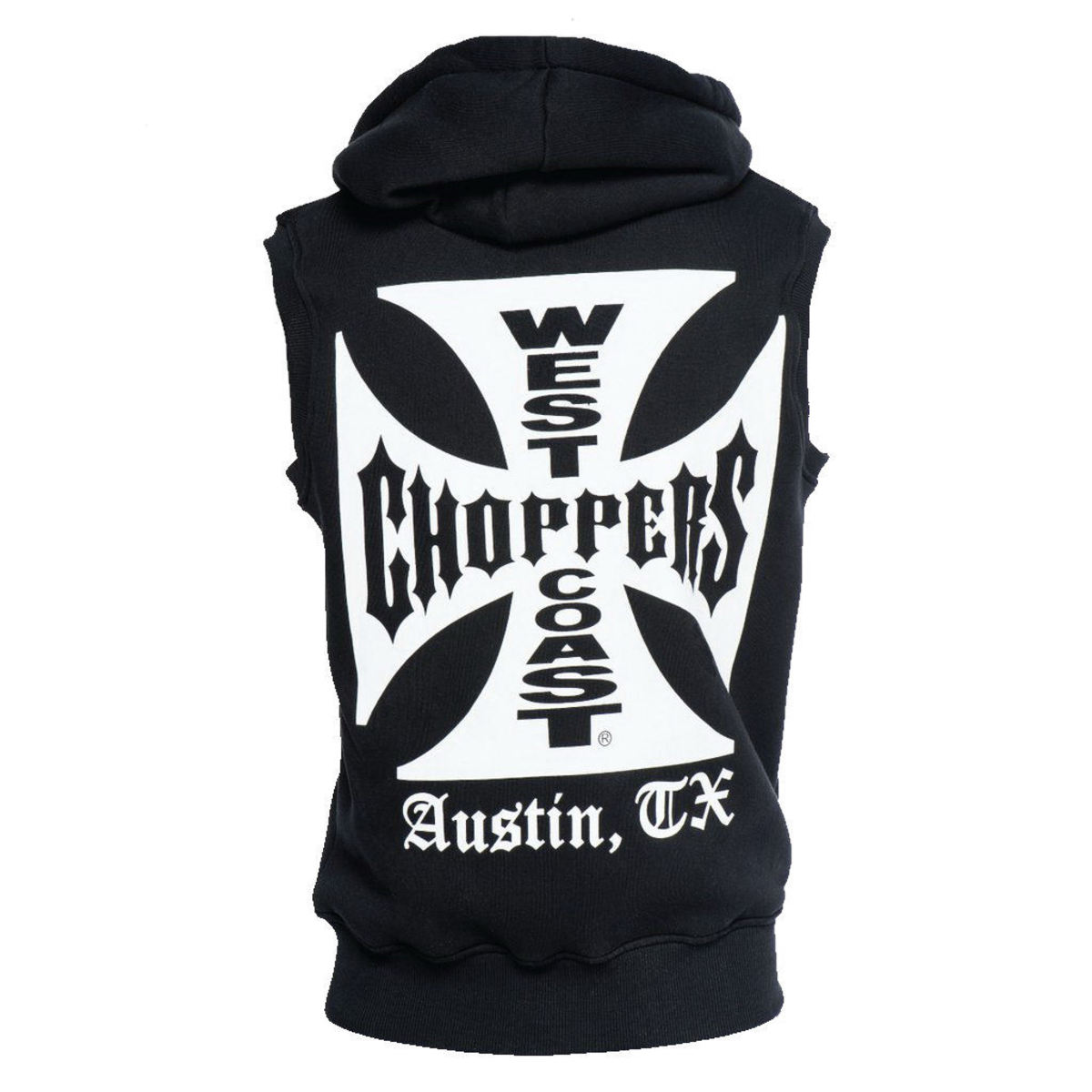 vesta - IRON CROSS SLEEVELESS HOODY - West Coast Choppers - WCCHD161ZW
