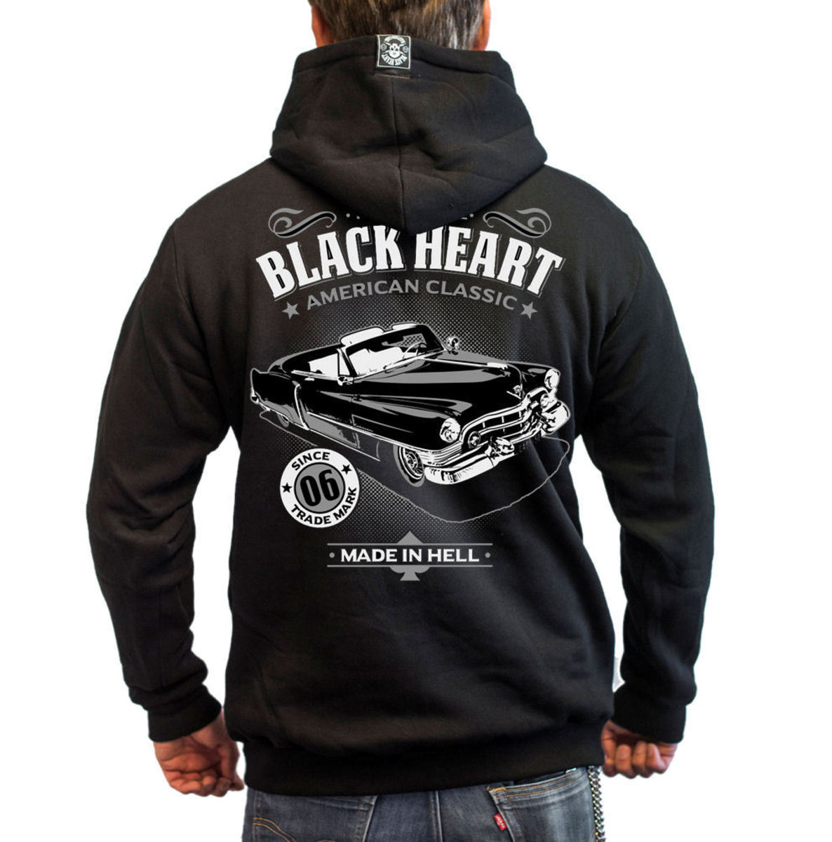 mikina BLACK HEART - CADILLAC - BLACK - 003-0034-BLK