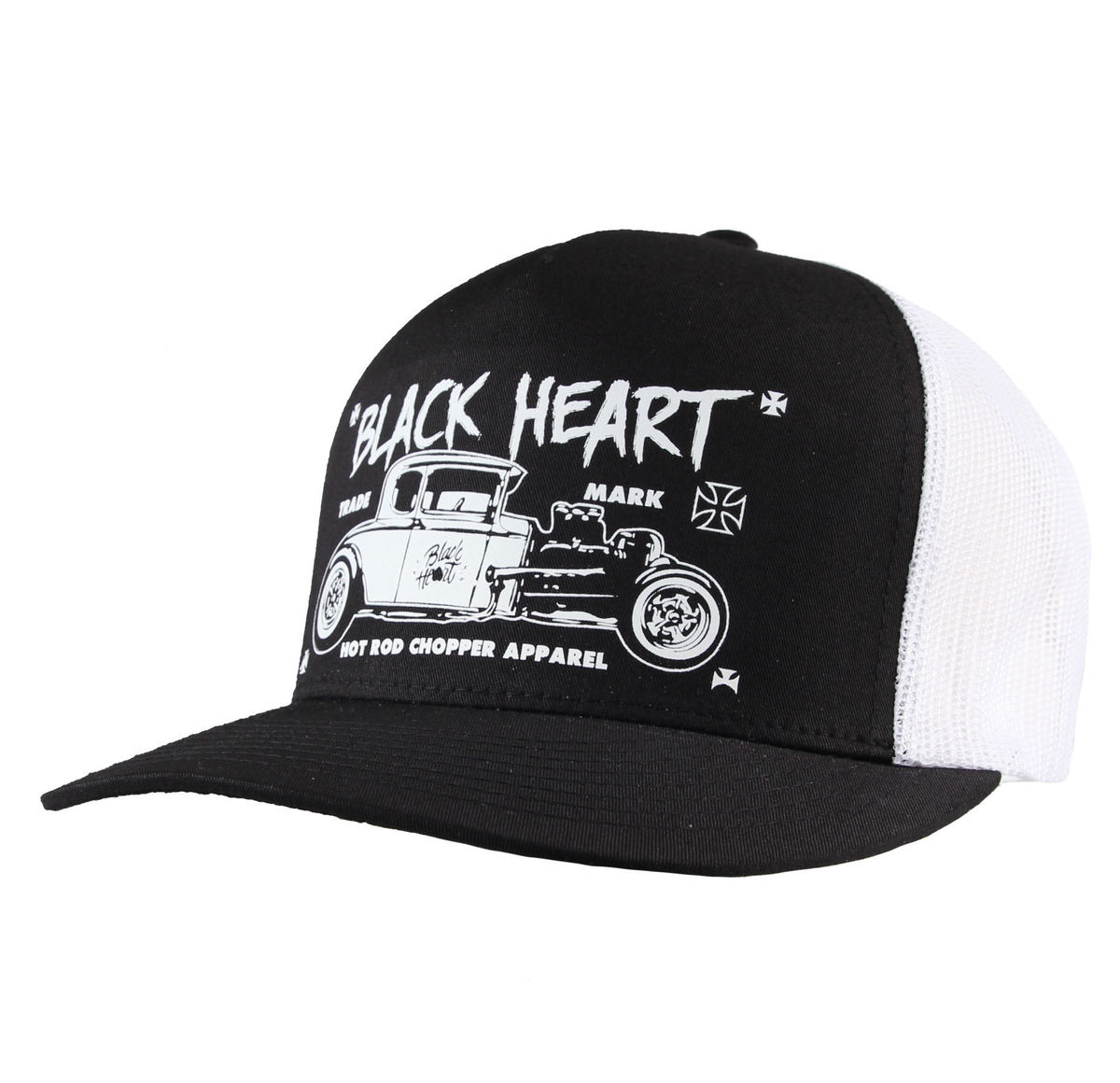 kšiltovka BLACK HEART - HOT ROD CROSS - WHITE - BH169
