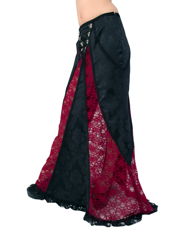 kilt Aderlass - Barock Skirt Brocade Black-Bordeaux - A-2-13-040-20 S