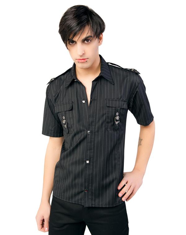 košile pánská Aderlass - Lock Shirt Pin Stripe Black-White - A-3-70-051-00