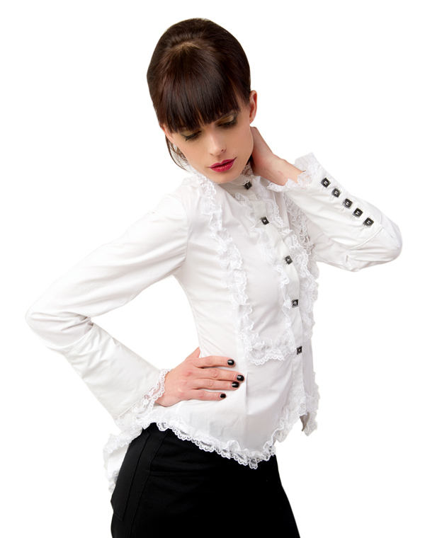 halenka dámská Aderlass - Wing Blouse Fine Denim White - A-4-43-001-01