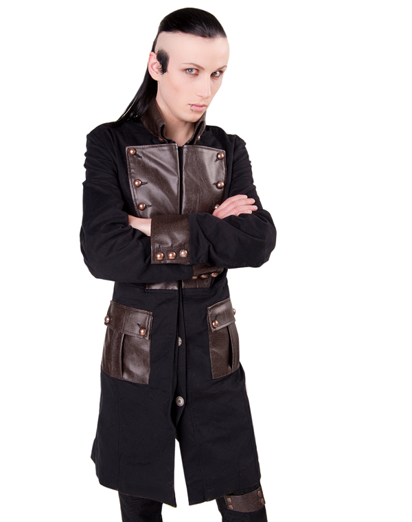 kabát pánský Aderlass - Steam Punk Coat Denim Black-Brown - A-7-06-501-07