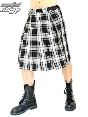 kilt Black Pistol - Short Kilt Tartan Black-White - B-2-10-060-01 XL