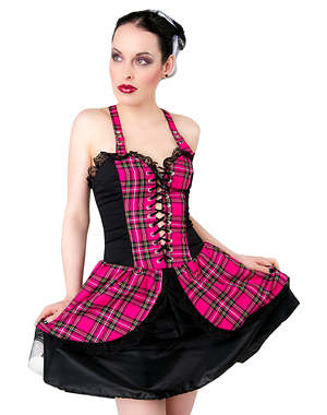 šaty dámské Black Pistol - Punk Mini Dress Tartan Pink - B-5-04-060-18 XL