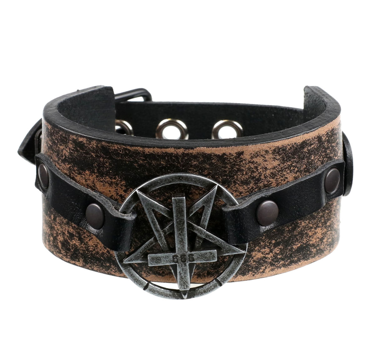 náramek Pentagram Cross - brown - LSF1 55
