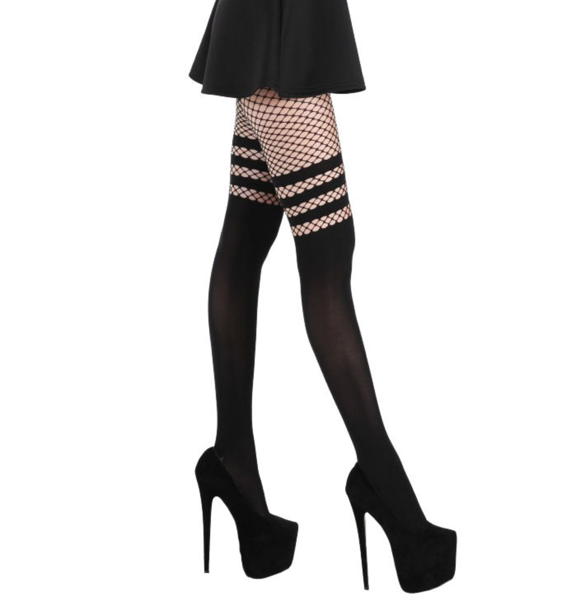 punčocháče dámské PAMELA MANN - Fishnet Over the Knee - Black Tall - PM1041