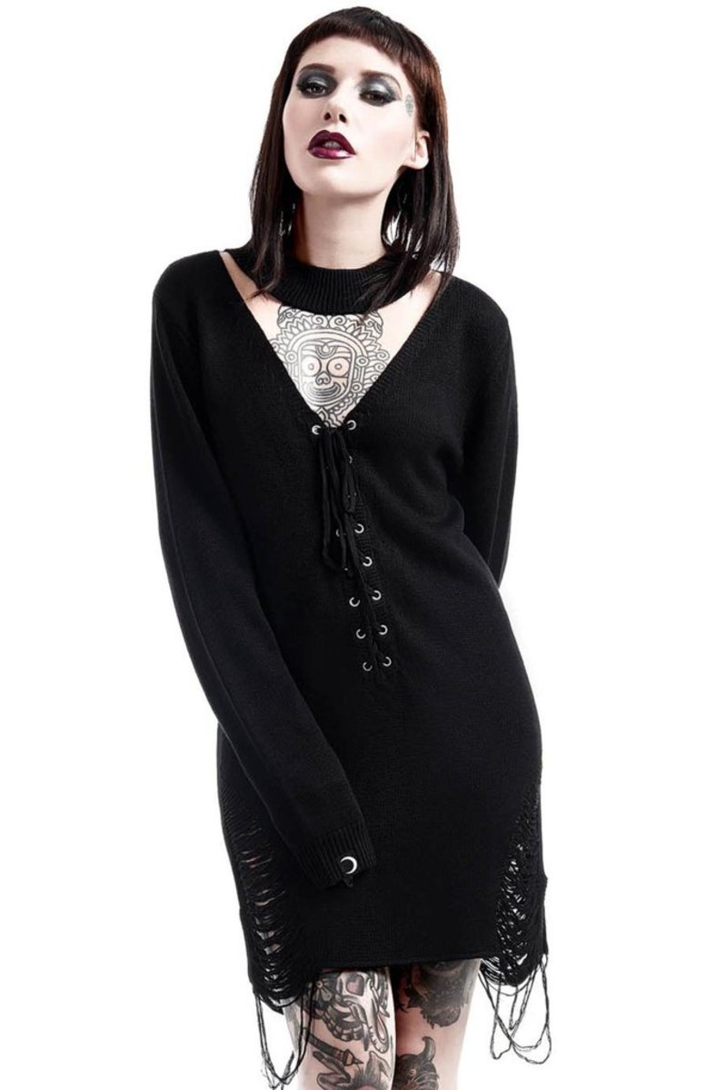 svetr dámský KILLSTAR - Hell In Harlow Distress Knit - Black - K-KNT-F-2609
